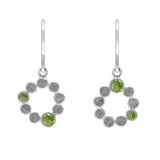 Sterling silver halo drop earrings - peridot