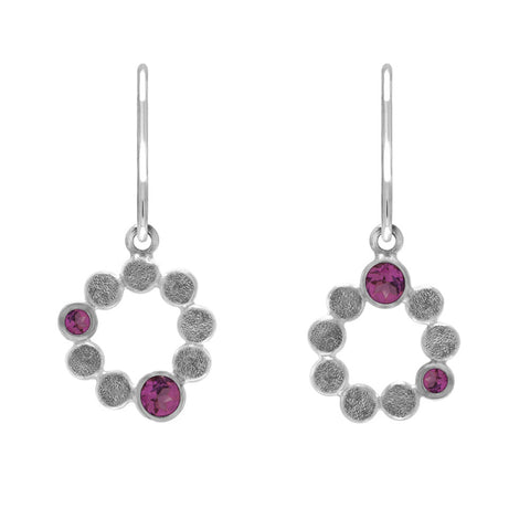 Medium halo earrings in sterling silver and gemstone