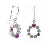 Sterling silver halo drop earrings - rhodolite garnet