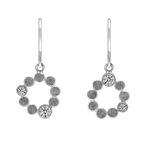 Sterling silver halo drop earrings - white topaz