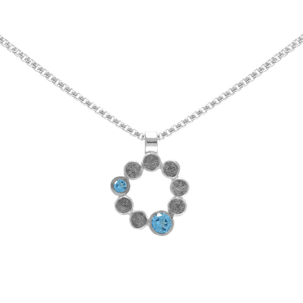 Sterling silver and gemstone halo pendant - medium - blue topaz