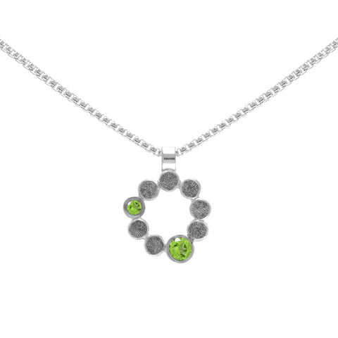 Sterling silver and gemstone halo pendant - medium - peridot