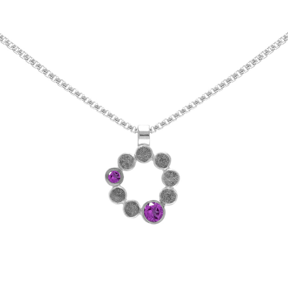Sterling silver and gemstone halo pendant - medium - rhodolite garnet