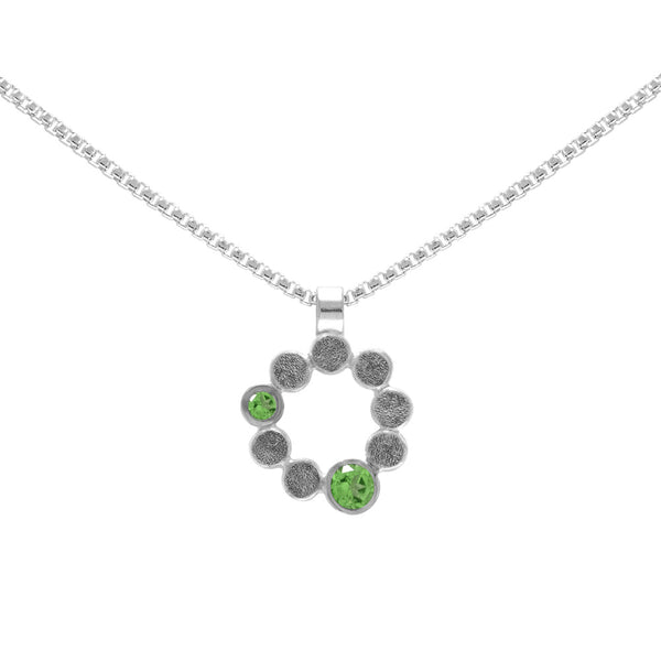 Sterling silver and gemstone halo pendant - medium - tsavorite garnet