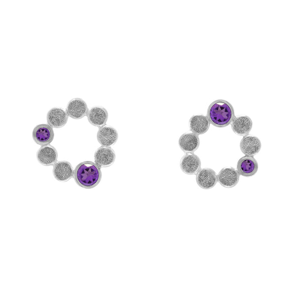 Sterling silver halo stud earrings - amethyst