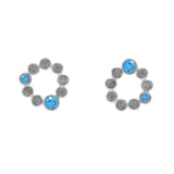 Sterling silver halo stud earrings - blue topaz