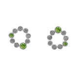 Sterling silver halo stud earrings - peridot