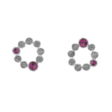 Sterling silver halo stud earrings - rhodolite garnet