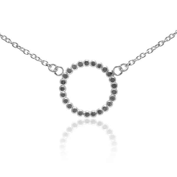 Sterling silver mini halo necklace