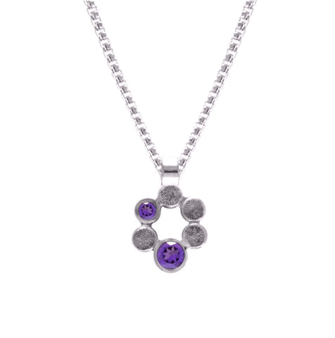 Small halo pendant in sterling silver and gemstone