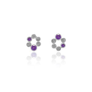 Small halo earrings in sterling silver and gemstone