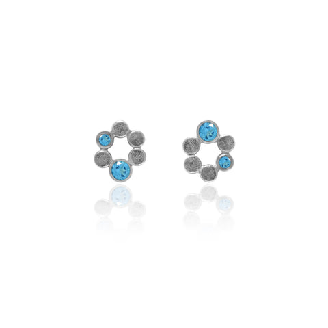 Small halo earrings in sterling silver and blue topaz