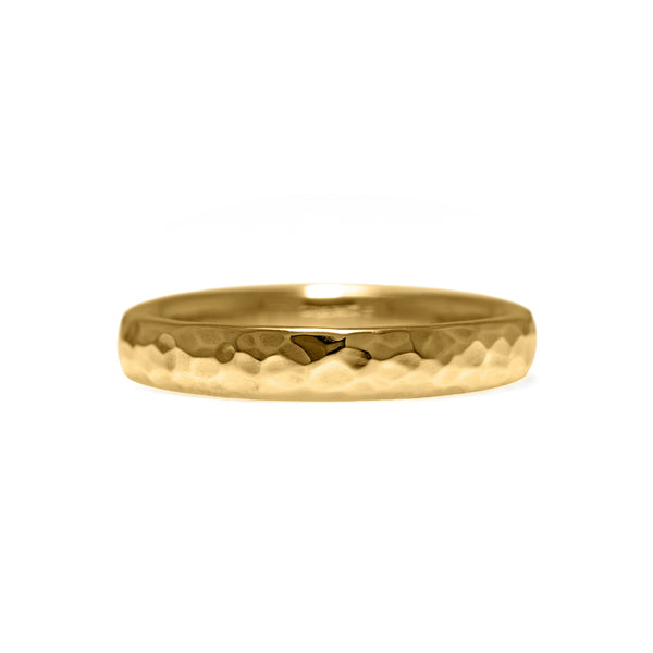 Court shaped wedding band recycled yellow gold beaten