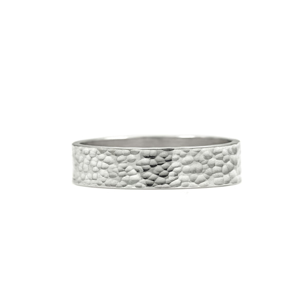 Flat wedding band recycled silver beaten