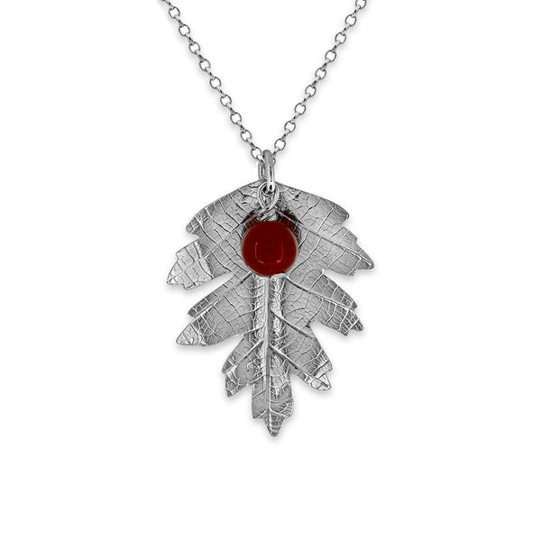 Silver hawthorn leaf and berry necklace - ready to wear