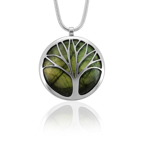 Silver and labradorite tree necklace