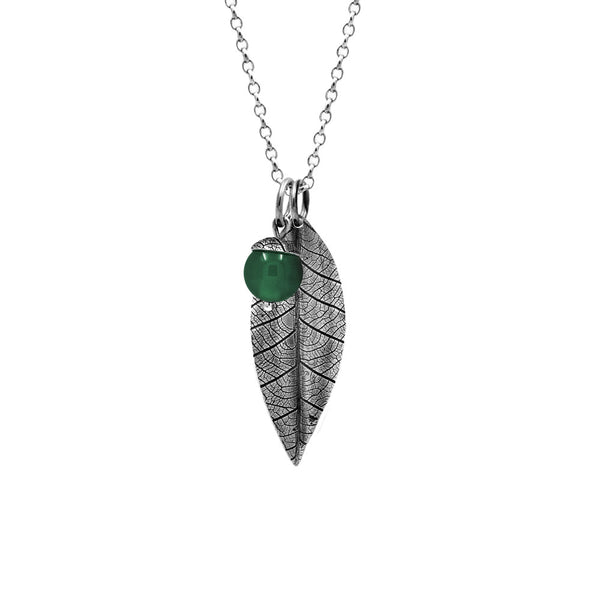 Sterling silver leaf pendant with acorn charm - green agate - woodland charm pendant