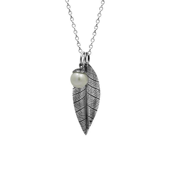 Sterling silver leaf pendant with acorn charm - pearl - woodland charm pendant