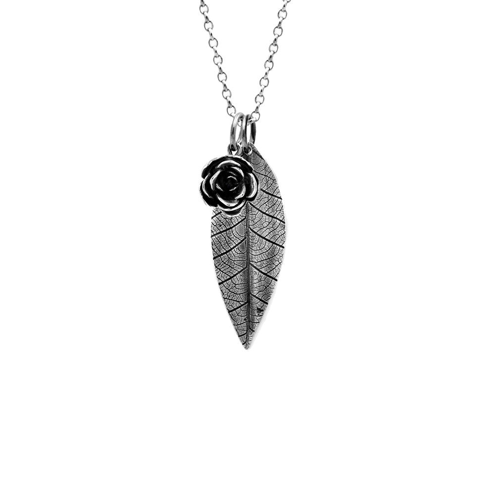 sterling silver leaf pendant and rose pendant