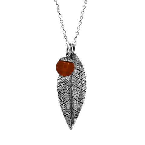 Sterling silver leaf pendant with acorn charm - carnelian - woodland charm pendant