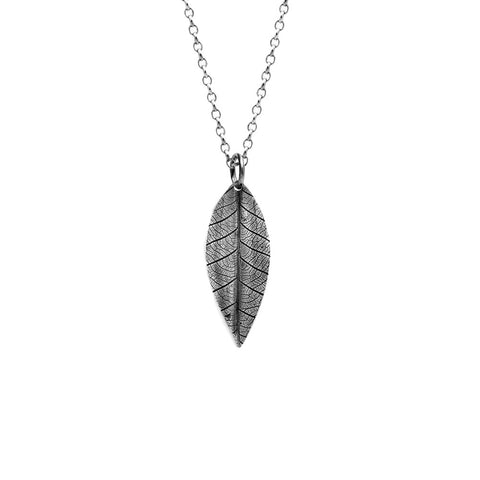 Sterling silver leaf pendant.   Handmade using recycled silver in Salisbury, Wiltshire.