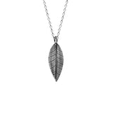 Silver leaf and acorn charm necklace - small