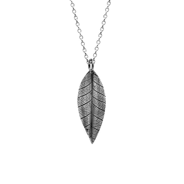 Silver leaf and rose charm necklace - medium - ready to wear