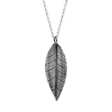 Silver leaf and rose charm necklace - large