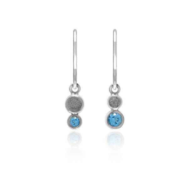 Halo mini drop earrings in textured sterling silver - blue topaz