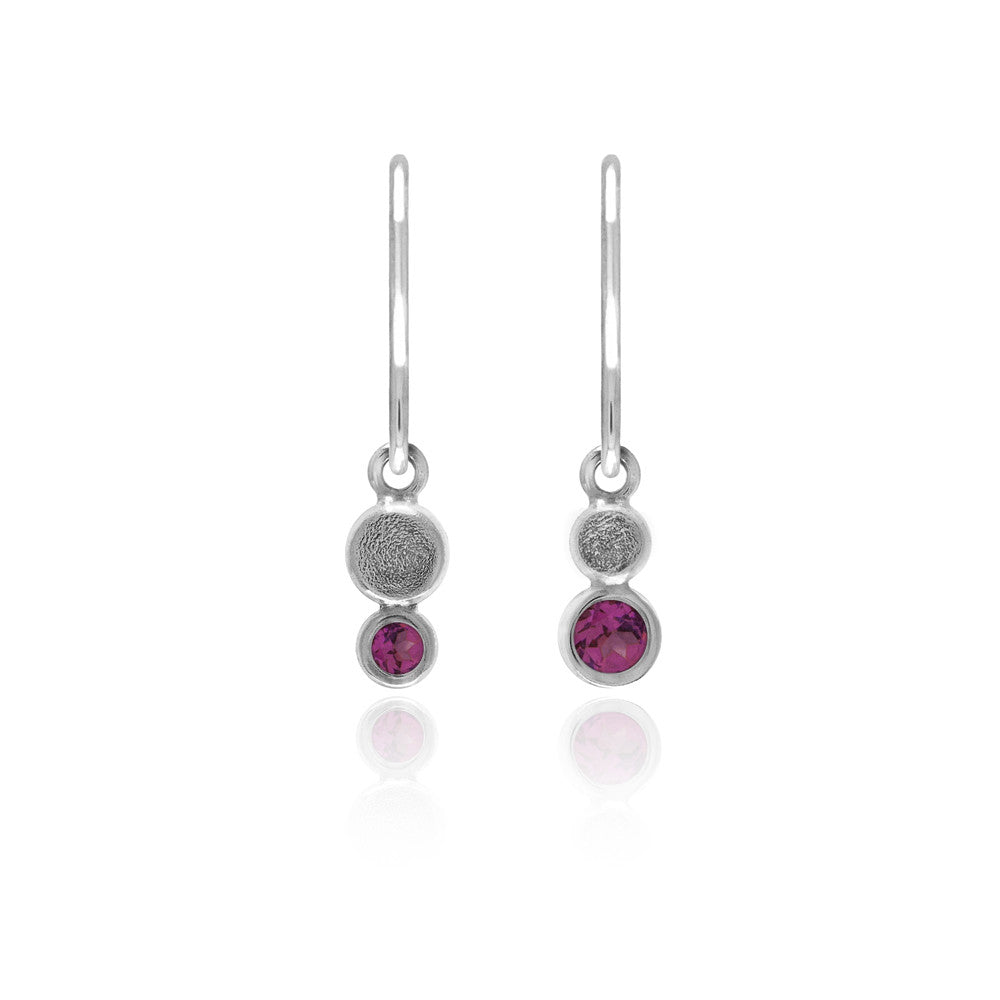 Halo drop earrings in textured sterling silver - rhodolite garnet