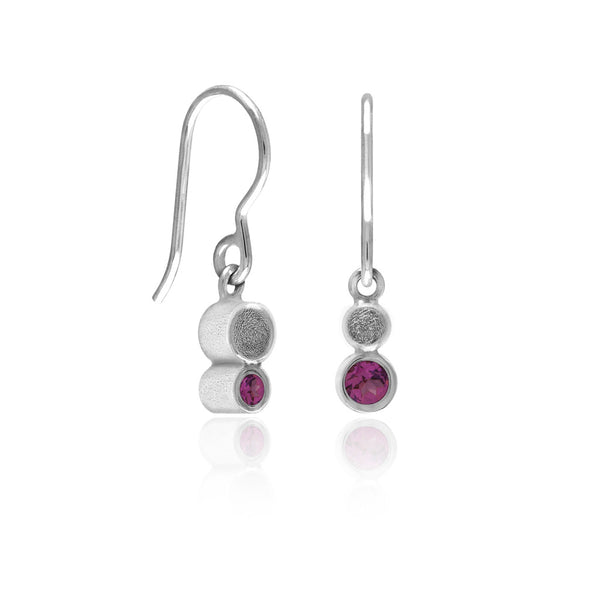 Halo mini drop earrings in textured sterling silver - rhodolite garnet