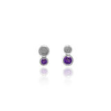 Halo mini stud earrings in textured sterling silver - amethyst