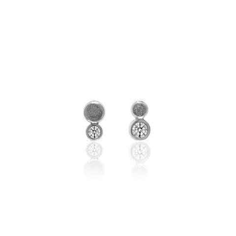Halo mini stud earrings in textured sterling silver - white topaz