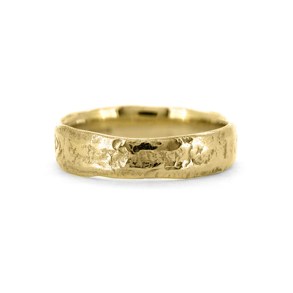 Molten wedding band textured wedding ring recycled yellow gold