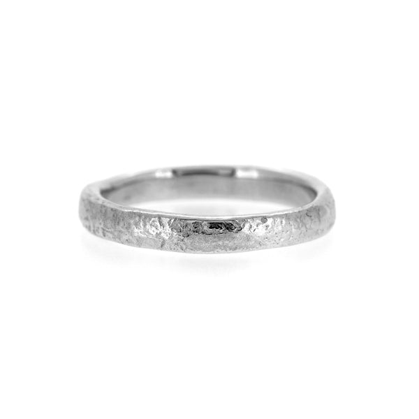 Molten wedding band textured wedding ring recycled silver