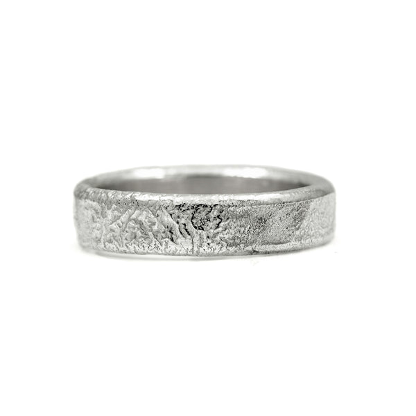 Molten wedding band textured wedding ring recycled white gold