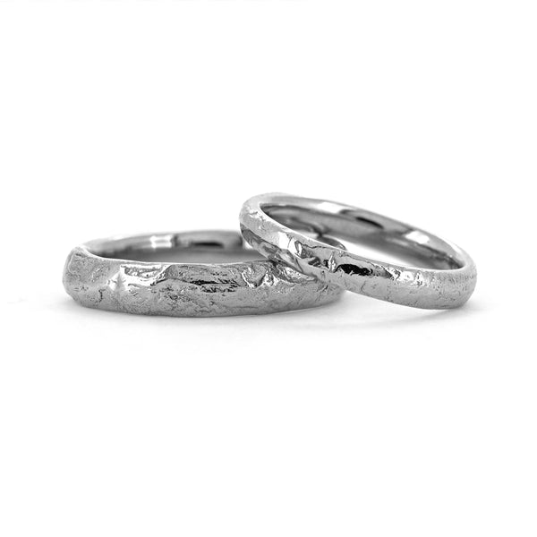 Molten wedding band textured wedding ring platinum