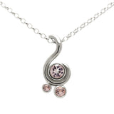 Entwine three stone gemstone pendant in sterling silver - morganite