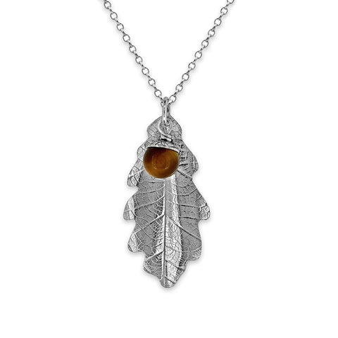 Silver oak leaf and acorn necklace - ready to wear