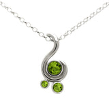 Entwine three stone gemstone pendant in sterling silver - peridot