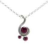 Entwine three stone gemstone pendant in sterling silver - rhodolite garnet