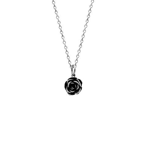 Silver rose charm pendant - medium