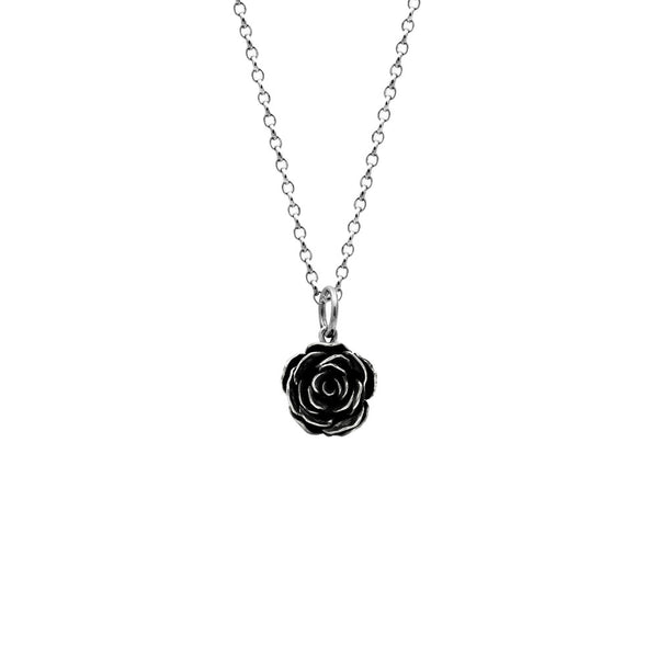 Silver leaf and rose charm necklace - large - ready to wear