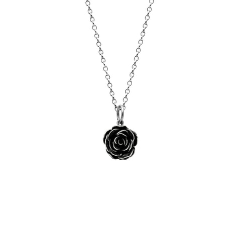 Silver rose charm pendant - large