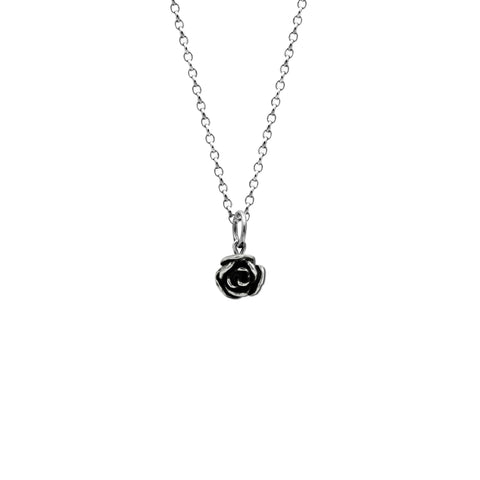 Silver rose charm pendant - small