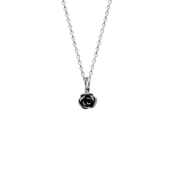 Silver rose charm pendant - small - ready to wear