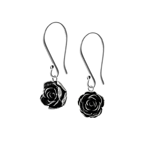 Silver rose earrings - ready to wear