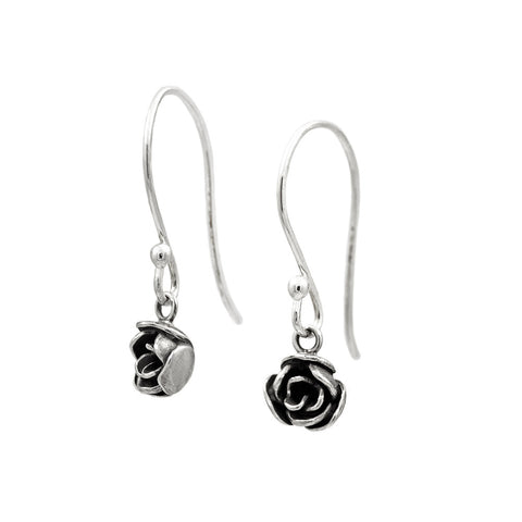 Silver rose earrings
