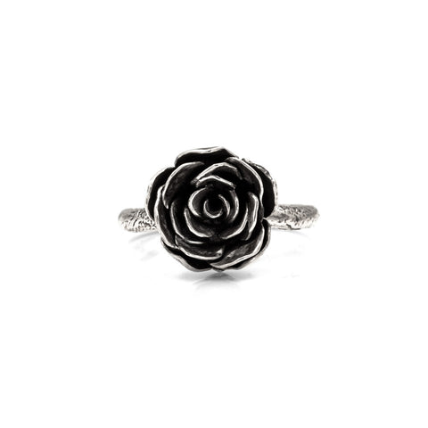 Silver rose ring - large - ready to wear