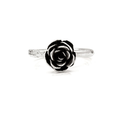 Silver rose ring - medium - ready to wear